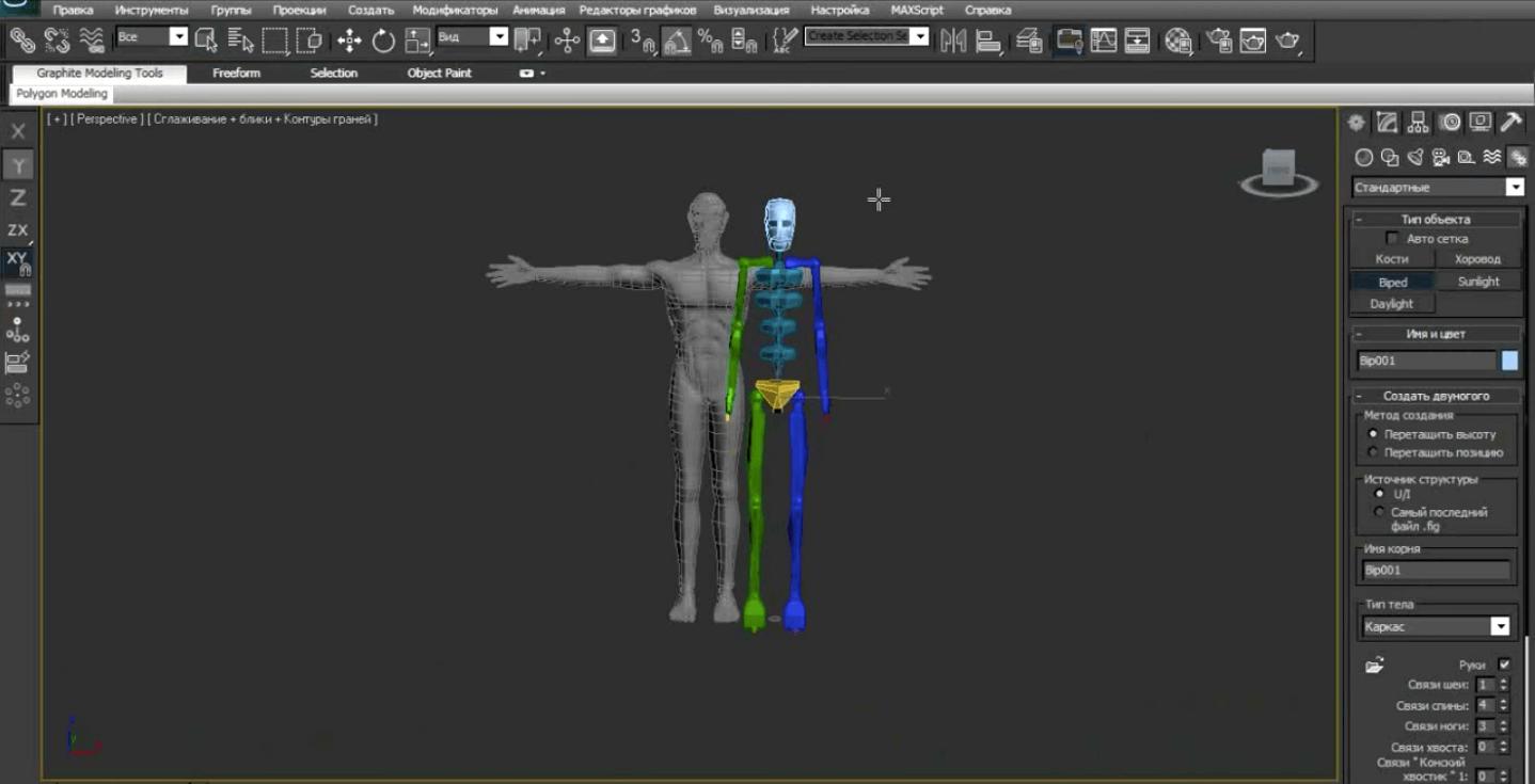 К трёхмерной модели добавляют скелет для анимации